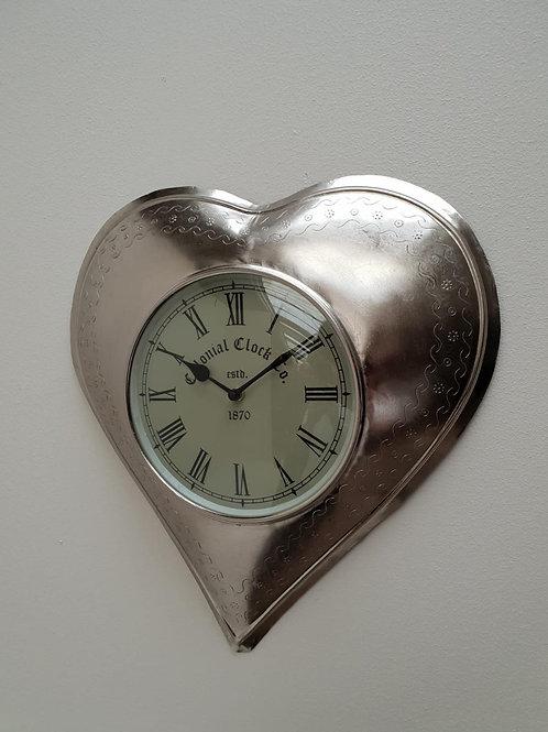 SA16 Silver Heart Clock  38cm W x 40cm H x 6cm D