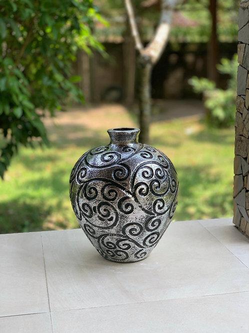 POT83 Terracotta Swirl Ball Pot Silver 42cm H x 32cm W x 32cm D