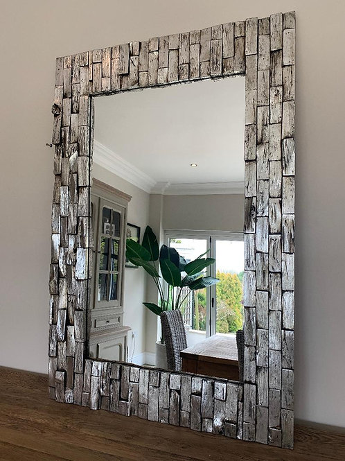KC02 Silver Block Hand Carved Mirror 120cm x 90cm