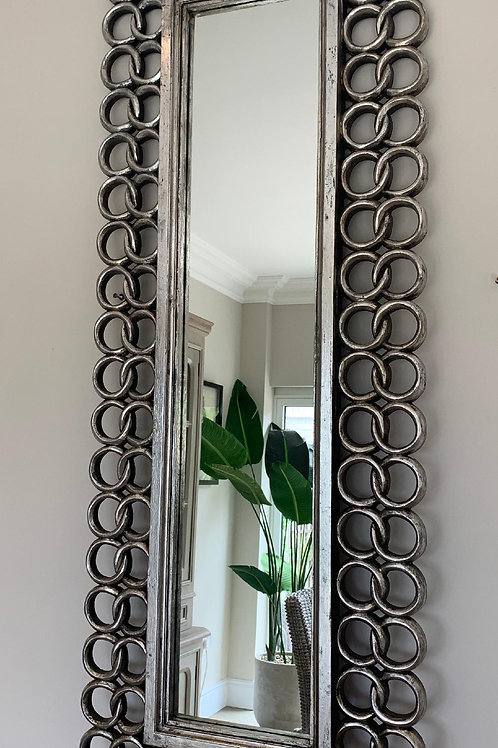KC67 Long Chain Hand Carved Mirror Silver 160cm x 60cm
