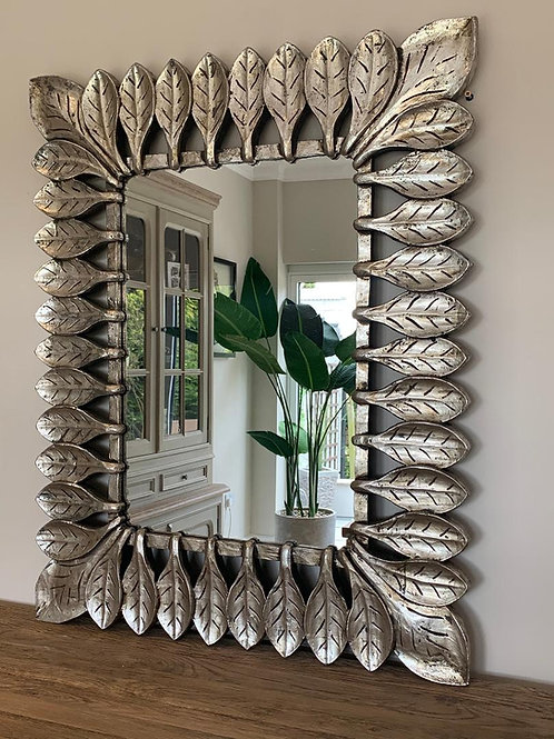 KC65 Catalunia Hand Carved Leaf Silver Mirror 100cm x 80cm