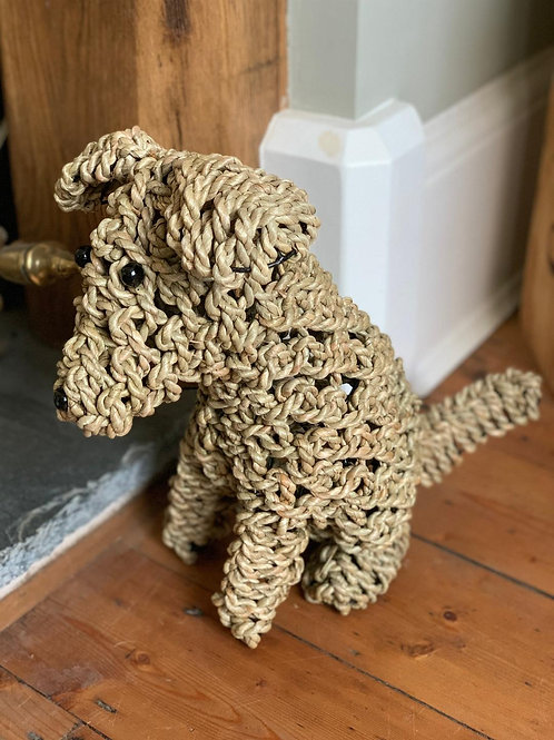 SK54S Seagrass Noodle Puppy Dog 33cm H.