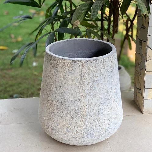 OP08 Outdoor Open Mouth Pot Grey 50cm H x 46cm W x 46cm D