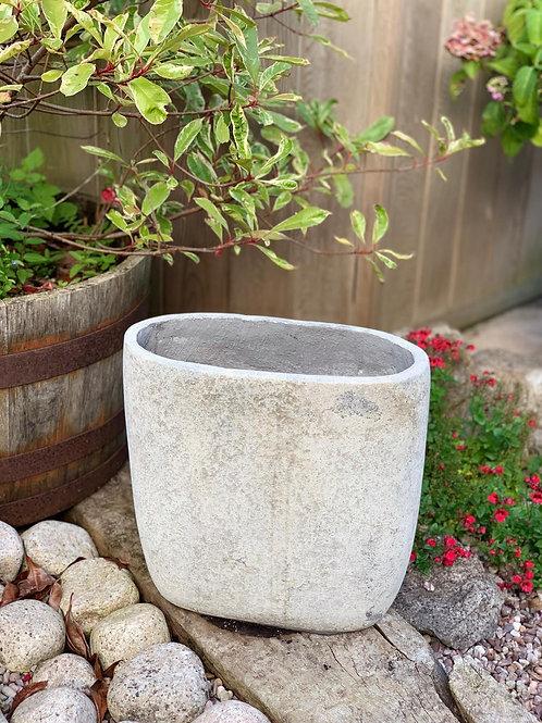 OP07 Outdoor Oval Pot Grey 39cm H x 38cm W x 17cm D