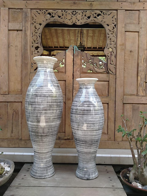 POT112 Tall Stripe Gloss Terracotta Pot (Set of 2) 120cm H, 100cm H.