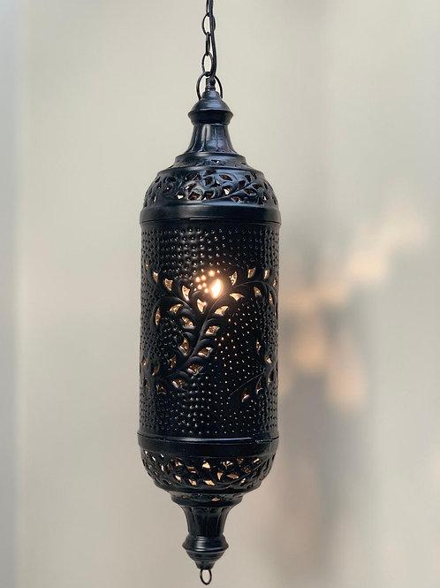 LS800B Hanging Embossed Lantern Black 68cm H x 20cm W x 20cm D Max Hanging 135cm