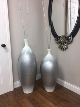 POT60 Shaded Silver/White Gloss Terracotta Vase (Set of 2) 100cm H, 80cm H.