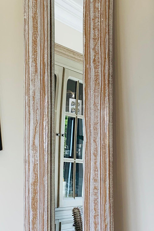 KC08W Jeparra Carved Long Mirror Whitewash 120cm H, 30cm W.