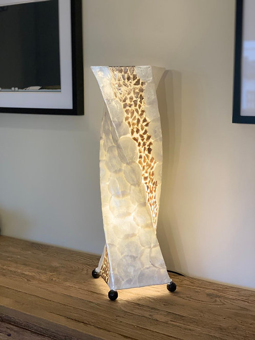LS66 Shell Combi Twist Table Lamp Ivory/Gold 61cm H.