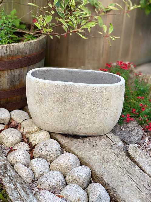 OP06 Outdoor Oval Pot Grey 28cm H x 46cm W x 18cm D