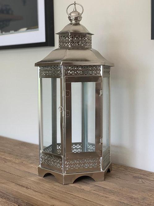 SA25 Silver Hexagon Metal Lantern  60cm H x 30cm W x 30cm D