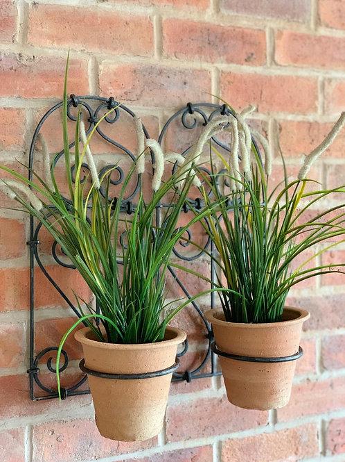 SK100 Iron Double Wall Planter + 2 Terracotta Pots  50cm H x 46cm W x 23cm D