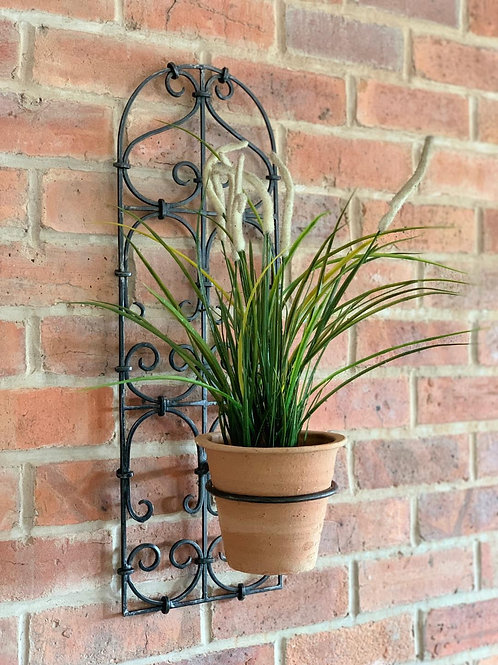SK101 Iron Single Wall Planter + Terracotta Pot  67cm H x 24cm W x 25cm D