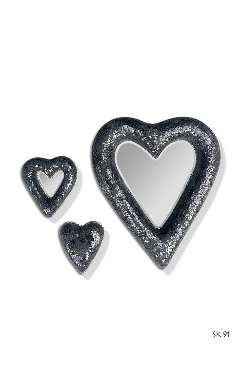 SK91 Crackle Open Heart Black (Set of 3)