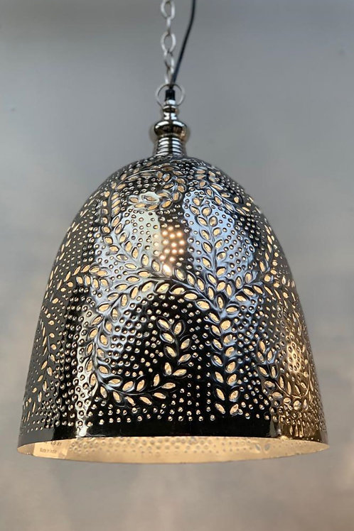 LS81 Moroccan Down Lighter Silver 46cm H x 33cm W x 33cm D Max Hanging 110cm