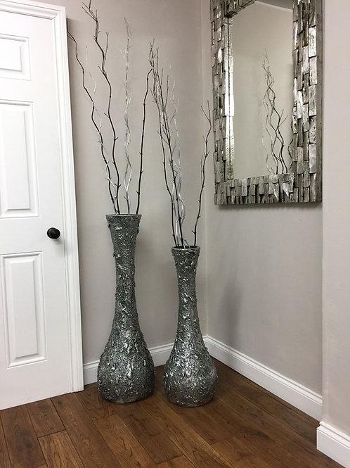 POT67 Embossed Silver Slim Neck Vase (Set of 2)  100cm H 80cm H.