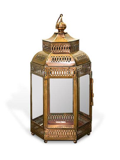 SA19 Hexagon Temple Lantern Bronze 50cm H x 25cm W x 25cm D
