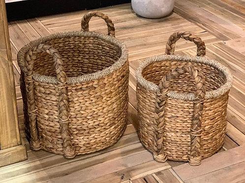 SK237 Round Chunky Log Basket (Set of 2)