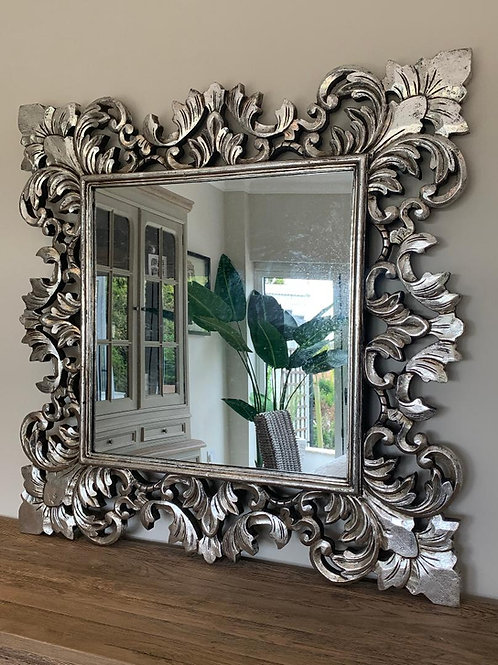 KC10 Silver Art Deco Hand Carved Mirror 100cm x 100cm