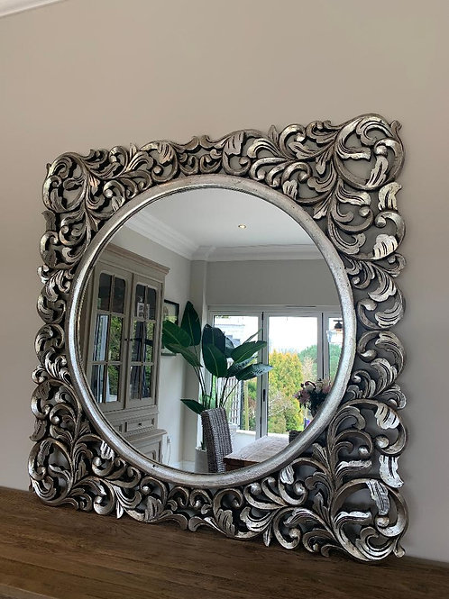KC64 Victoria Hand Carved Silver Mirror 120cm x 120cm