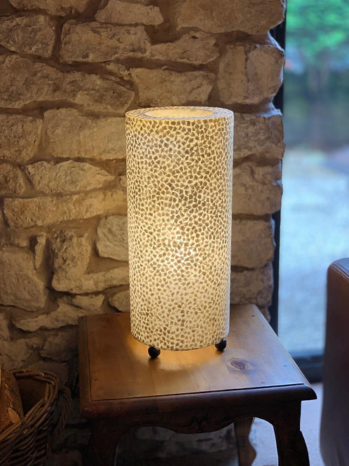 LS89 Shell Cylinder Table Lamp Ivory  51cm H x 22cm W x 22cm D