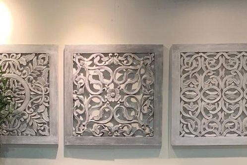 MA02 Hand Carved Square Wall Art Grey Wash (Set of 3) 70cm x 70cm Each Piece