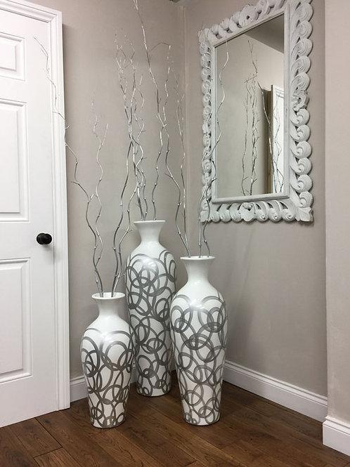 POT19 Etsa White Gloss Vase Silver Swirl (Set of 3) 100cm H, 80cm H, 60cm H.