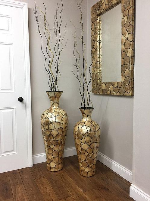 POT16 Terracotta Shell Mosaic Chimney Vase Gold (Set of 2) 100cm, 80cm.