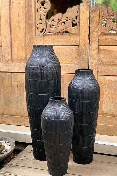 POT113 Matt Black Terracotta Pot (Set of 3) 100cm H, 80cm H, 60cm H.