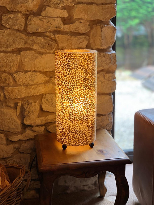 LS86 Shell Cylinder Table Lamp Gold 51cm H x 22cm W x 22cm D
