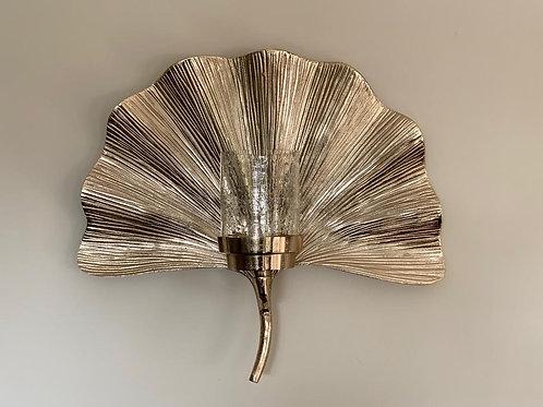 SA131 Platinum Fan Wall Candle Sconce  45cm H x 51cm W x 17cm D