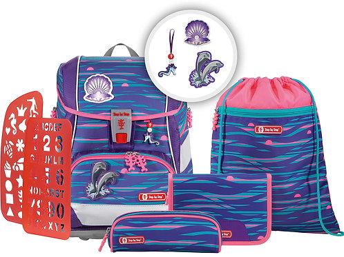 """2IN1 PLUS Schultaschen-Set """"Shiny Dolphins"""", 6-teilig"""