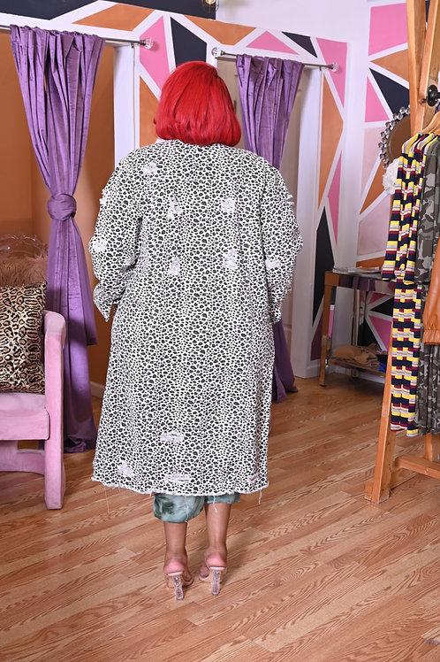 Cheetah Girl Denim Distressed Jacket