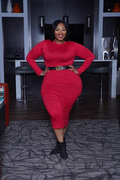 Red Lip BodyCon T-Shirt Dress