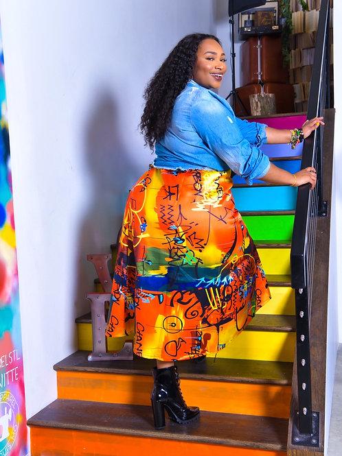 Orange Graffiti Skirt
