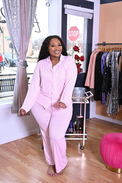 Pink Poka Dot Pajama Set