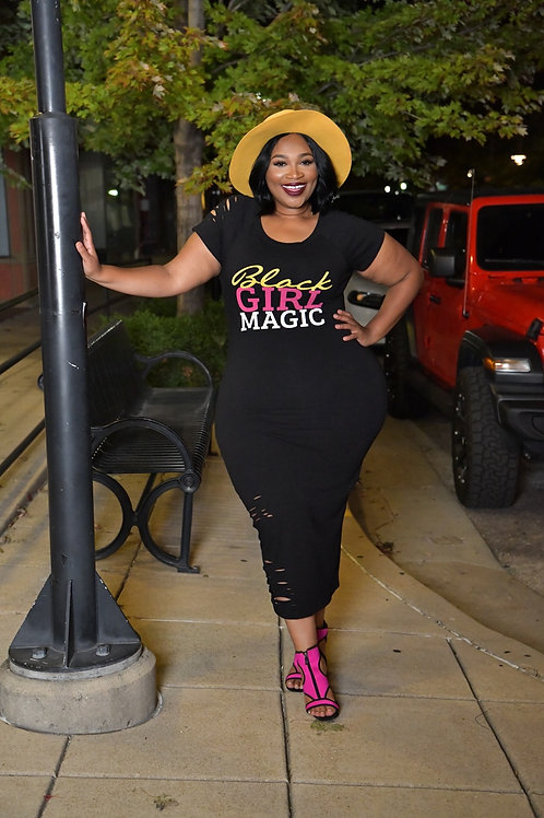 Black Girl Magic Distressed Maxi Dress