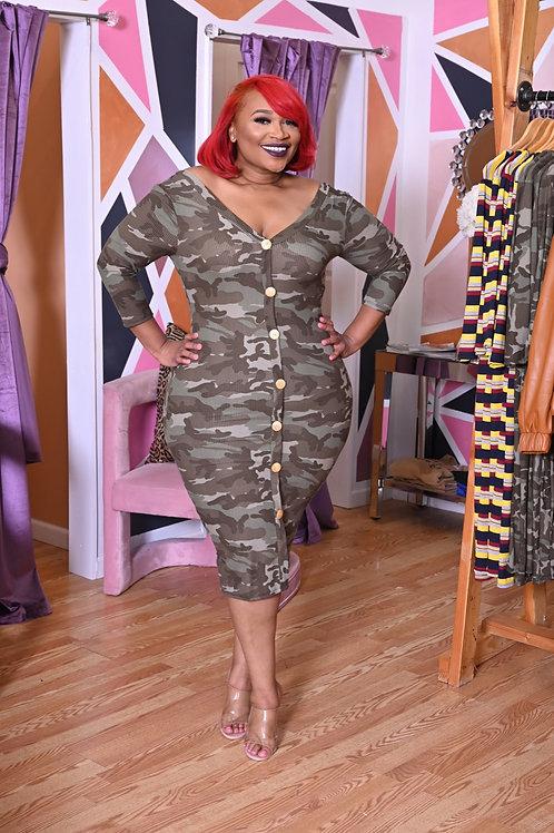Madelyn Midi Camo Dress