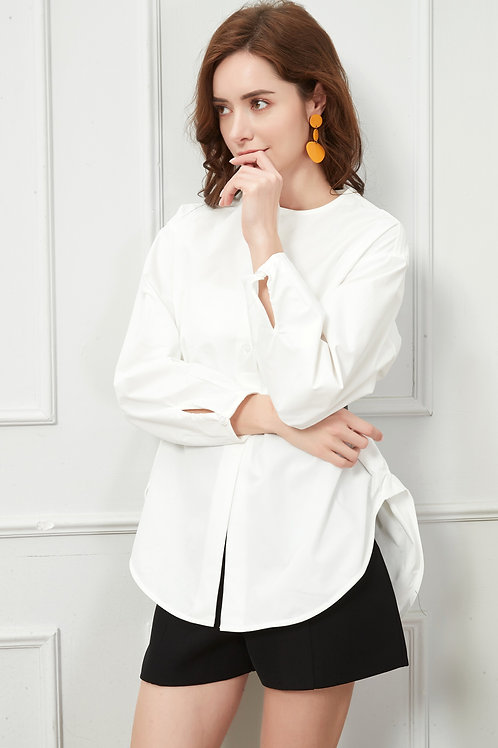 Round Neck White Shirt (Belt Included)