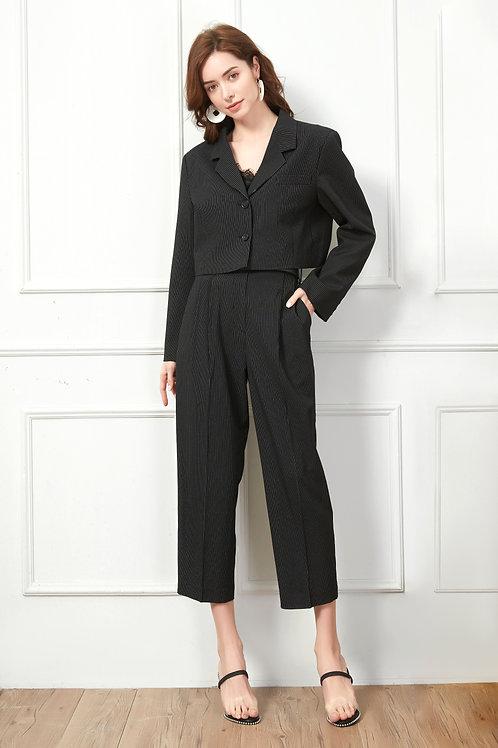 Black Stripped Suit Pants