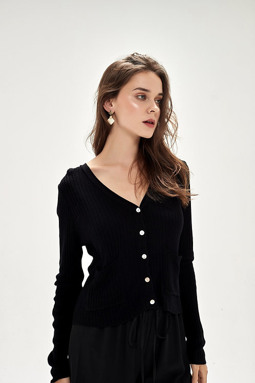 Loose-Fit Button Up Cardigan