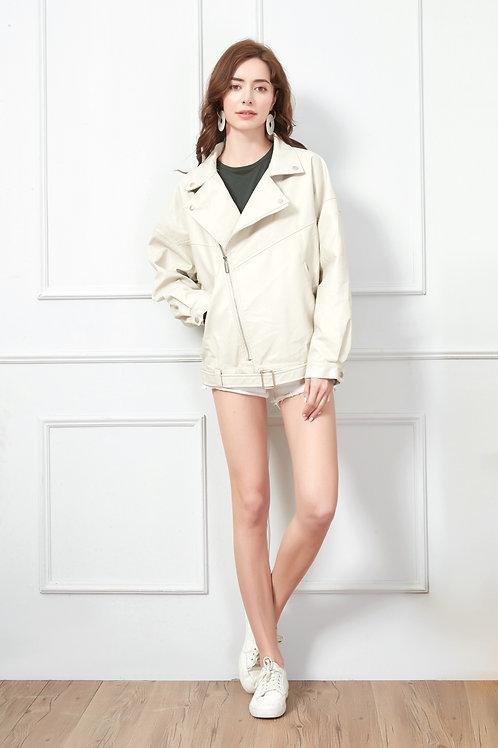 Creamy Faux Leather Moto Jacket