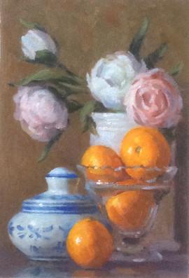 Peonies, Oranges and Delftware