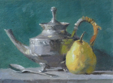 Pewter and fruit