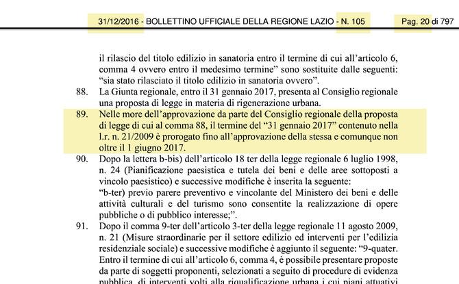 Proroga Piano Casa Regione Lazio - 2017