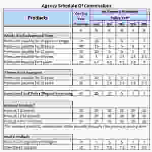 insurance agency schedule of commissions example