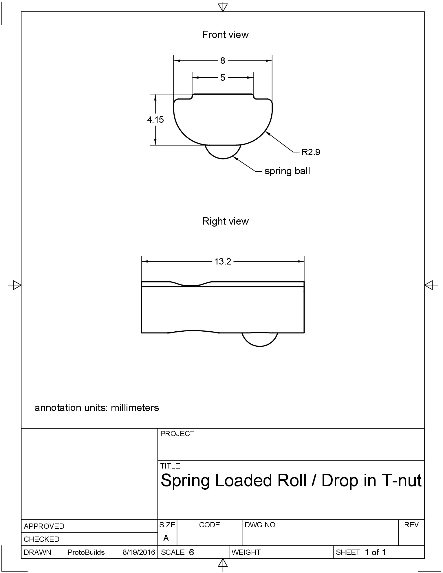 spring loaded drop in t-nut drawing image
