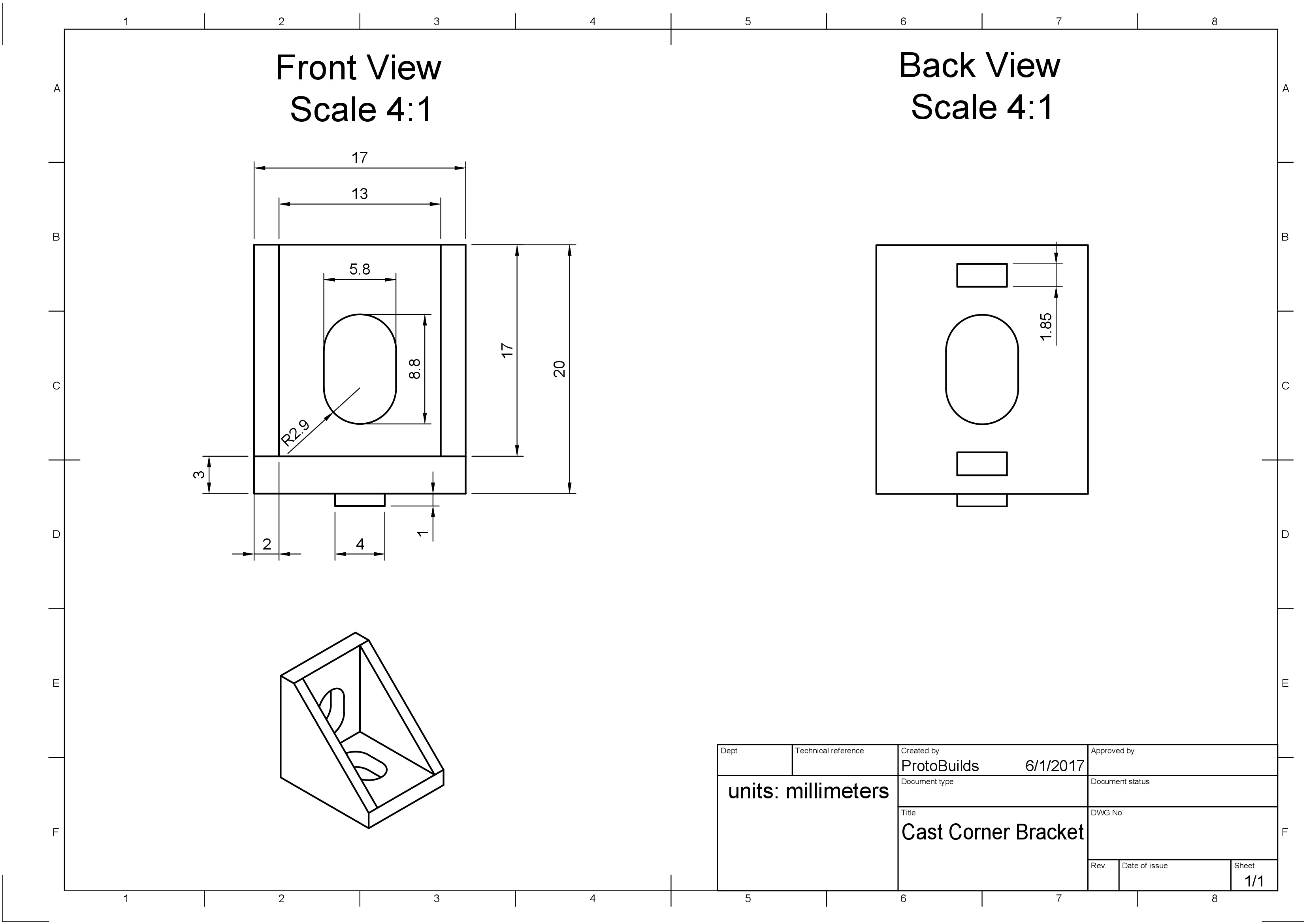 cast corner bracket technical drawing