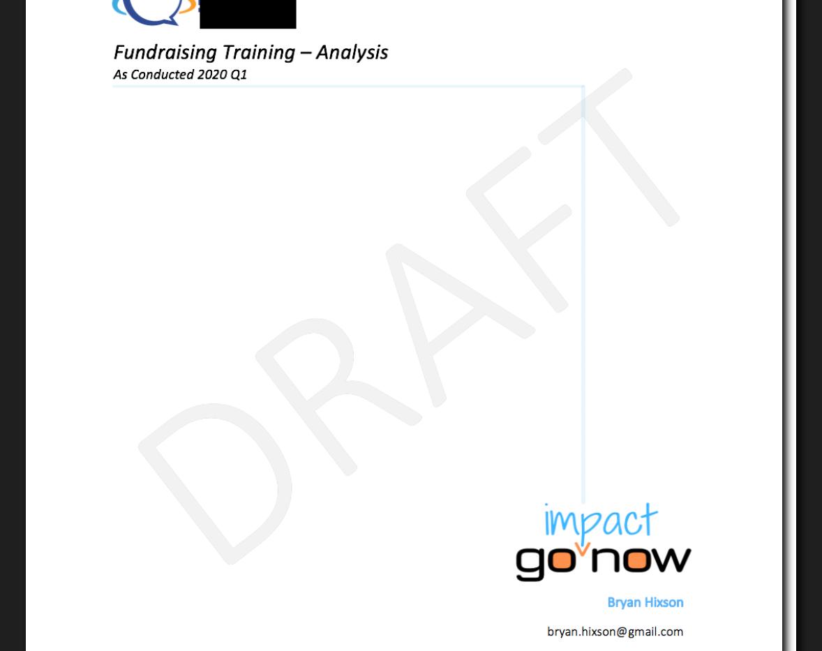 Fundraising Needs Analysis - P1