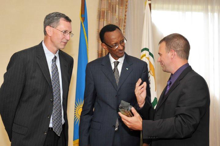 Presenting an Oklahoma Gift to President Paul Kagame
